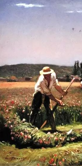 A-peasant-mowing-xx-Charles-Emile-Jacque